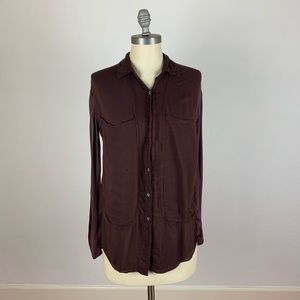 Free People Brown Button Down Top